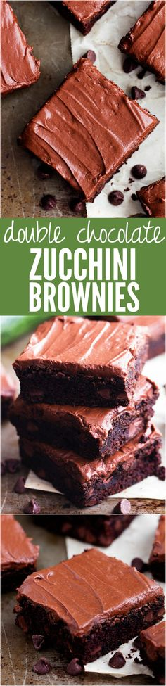 Double Chocolate Zucchini Brownies - These are the BEST chocolate zucchini…