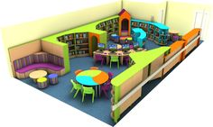 Bright and Colourful Primary School Library Design Kindergarten Library, Kindergarten Interior, Kindergarten Design, Public Library Design, School Library Design, Classroom Design, Teen Library Space, Kids Library, Design Living Room