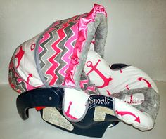 Pink n grey chevron with anchor
