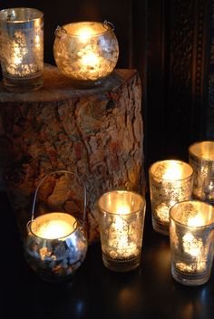 glowing mercury glass votives.........luminaries. candles. lighting