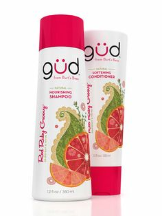 Red Ruby Groovy Natural Shampoo and Conditioner. I love that it's 3-p free (parabens, phthalates, and petrochemicals). That, and it says it has a citrus sass! Right up my alley...