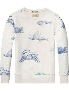 Now available: Damaged Artwork Sweater Scotch & Soda Scotch Soda, Sweatshirts, Boys, Sweaters, Clothes, Nautical, Sea, Artwork, Pattern