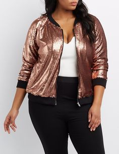 Plus Size Sequin Bomber Jacket | Charlotte Russe