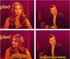 "Jen and Josh answer the question: ""When you first read the book, did you picture yourself as Katniss?"""