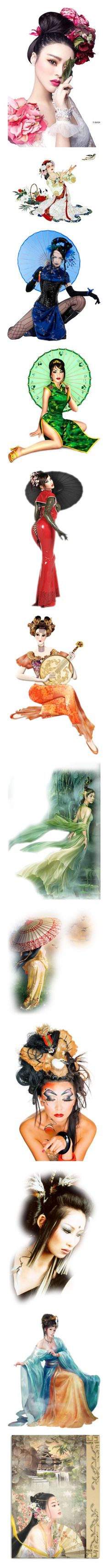 """""""Women, Asia - Far East"""" by najoli ❤ liked on Polyvore featuring geishas, doll head, asian, people, fairies, tubes, dolls, fantasy, oriental and art"""