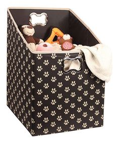 Black Paw Print Angle Storage Box - could I make something like this (wood/wallpaper covering?)