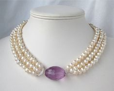 Freshwater Pearl Necklace Lavender Crystal 3 Strand by Tissage