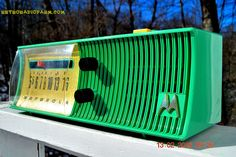 """SEA GREEN Mid Century Retro Jetsons 1957 Motorola 56H Tube AM Radio Works! DIMENSIONS: Approximately 12"""" x 5"""" x 6"""" (l x w x h) COLOR: Sea Green YOUTUBE VIDEO here. I live in rural Connecticut and ther"""