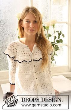 """Crochet DROPS jacket with stripes and lace pattern in """"Safran"""". Size XS - XXL."""