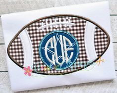 Football Monogram Applique Digital Machine Embroidery Design 4 Sizes by Creativeapplique on Etsy https://www.etsy.com/listing/192738785/football-monogram-applique-digital