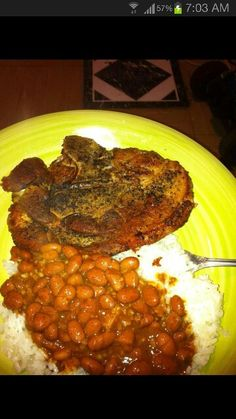 Puerto Rican food pork chop beans and rice