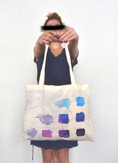 Plátěná taška barevné čtverce DIY