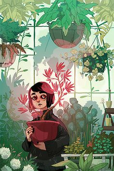 drawing Illustration it's a phase greenhouse green house with more glowing things so many plants