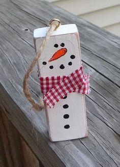 Snowman Ornament Repurposed Jenga Block Rustic by EmbellishCraft                                                                                                                                                                                 More