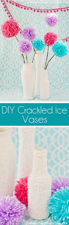 How to make these DIY Faux Crackled Ice Vases using salt and other supplies from Dollar Tree!