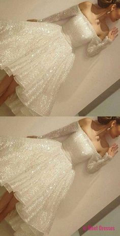 White Homecoming Dress,White Homecoming Dresses,Sequin Homecoming Gowns,Party Dress,High Low Prom Gown,Cocktails Dress,Homecoming Dresses PD20181622
