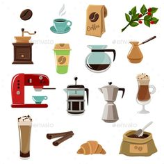 Coffe Retro Flat Icons Set by macrovector Vintage classic style coffee set flat icons composition with beans grinder and coffeemaker abstract isolated vector illustration.