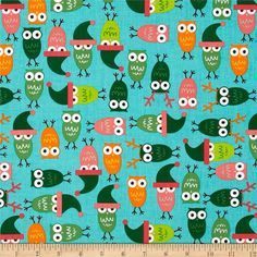 Jingle 2 Tossed Holiday Owls Vintage from @fabricdotcom  Designed by Ann Kelle for Robert Kaufman, this cotton print is perfect for quilting, apparel and home décor accents.  Colors include blue, white, brown, green, yellow, orange and pink.