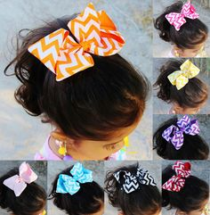 Who doesn't love a good chevron? Check out our ready to go chevron bow. You know you are going to need tons of hair pretties for this back to school year and we have you covered http://cummingscreationsandmore.com/chevron-print-hair-bows/  #Hairbows #chevron #pretties #kidfashion #childaccessories #cummingscreations Chevron Print Hair Bows - Cummings' Creations and More