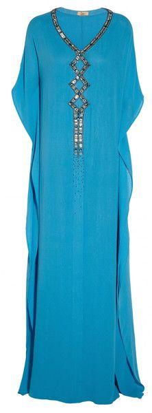 Issa Embellished Silk Crepe De Chine Kaftan in Blue