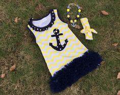 Girls Navy Blue Yellow Anchor Chevron Tutu Dress Necklace Hair 2T 3T 4 5 6 7  #DressyEverydayHolidayPageant