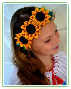 Sunflowers headband kanzashi flower headband handmade by FEIUSHKA