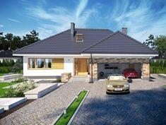 Wizualizacja ARP PADME CE Modern Bungalow House, Bungalow House Plans, Craftsman House Plans, House Plans Mansion, Bedroom House Plans, Dream House Plans, Single Floor House Design, Model House Plan, Village House Design