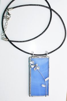 Stained Glass Pendant with Orchid Design by charlottechamplin