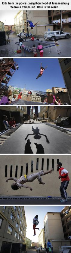 Every kid deserves a trampoline. Just look at the smiles on their faces