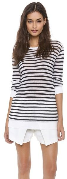Alexander Wang Striped Rayon Linen Tee - women's fashion (black ink and white clothing apparel)