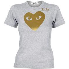 Comme Des Garcons PLAY Ladies Gold Foil Heart T-Shirt Grey  