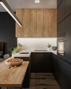 Kitchen Interior Design – Kitchen is a place for us to make favorite food. Therefore the kitchen must make us . Home Decor Kitchen, Rustic Kitchen, Kitchen And Bath, Kitchen Dining, Kitchen Cabinets, Black Cabinets, Upper Cabinets, Open Kitchen, Kitchen Island