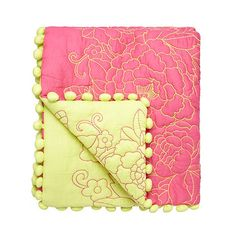Butterfly Home by Matthew Williamson Designer 'frida' pink embroidered pom poms trim throw- at Debenhams.com