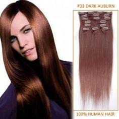 24 Inch #33 Dark Auburn Clip In Remy Human Hair Extensions 12pcs