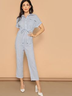 To find out about the Flap Pocket Front Drawstring Waist Shirt Jumpsuit at SHEIN, part of our latest Jumpsuits ready to shop online today! Pop Fashion, Fashion News, Fashion Outfits, Fashion Black, Fashion Fashion, Vintage Fashion, Womens Fashion, Roll Up Sleeves, Drawstring Waist