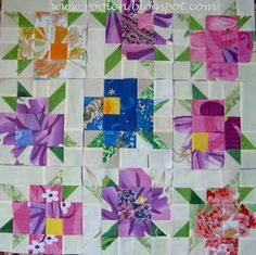 What a neat idea for a scrappy flower quilt! Quilt top by Marina Sohonchuk from the Patchwork Geometry blog.