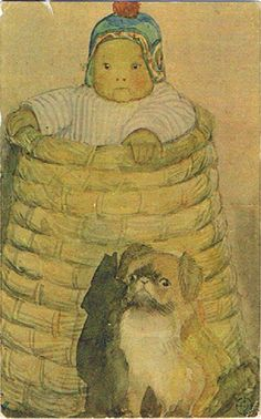 Peke with a baby in a basket