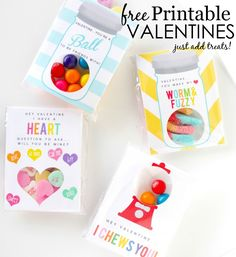 Free Printable Valentines cards- download, print and add candy! #valentines #DIY