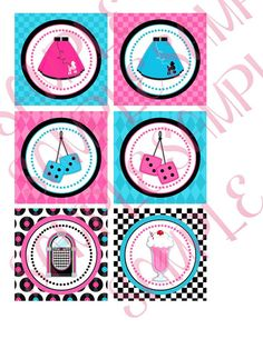 1950's Birthday Party 3 inch Labels by creativelyexpressive