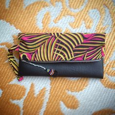 Fold Over Clutch Bag - Pink+Yellow Peacock African Wax Print with Black Faux Leather Trim - Bridesmaid's Gift - (PPBL5) by ChangNoii on Etsy