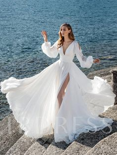 Boho Long Sleeves Wedding Dress for Seaside High Slit Side - This is a made-to-order product. This cool summer wedding gown features a classic V neckline with - Summer Wedding Gowns, Long Wedding Dresses, Bridal Dresses, Dress Wedding, Wedding Shoes, Fall Wedding, Blue Wedding, Long Elegant Dresses, Wedding On The Beach