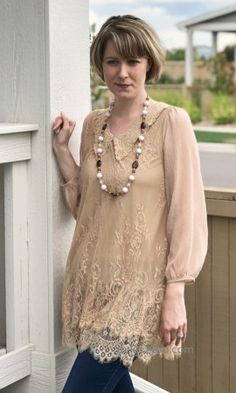 Annabelle Sleeve Double Layered Lace Blouse In Brown Vintage Inspired Outfits, Neutral Tones, Sheer Fabrics, Mix Match, Lace Detail, Blouses For Women, Fashion Accessories, Beautiful Women, Angel