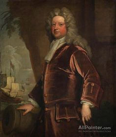 Sir Godfrey Kneller, Bt. Admiral Sir John Norris oil painting reproductions for sale