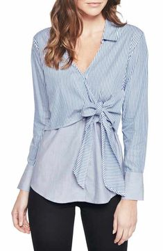 Bardot Striped Faux-wrap Shirt In Blue/ White Dress Design Sketches, Fashion Design Sketches, Blouse And Skirt, Blouse Dress, Coats For Women, Clothes For Women, Western Tops, Wrap Shirt, Looks Cool