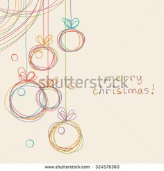 Christmas doodle background. Cute christmas balls in hand drawn childish sketch style. Invitation and greeting decorative card. Abstract simple winter holiday linear illustration with text box - stock photo