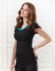 Beaded Neck Top in Black by Pepperberry Tops