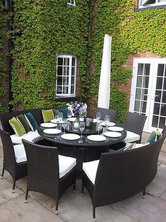 Large Round Dining Table Benches and Chairs Rattan Garden Furniture Set Seats 10   eBay