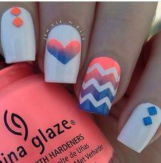 Cool Nail Art Ideas for 2019 - Easy Nail Designs for Beginners Summer nailsSummer nails Chevron Nail Designs, Chevron Nail Art, Simple Nail Designs, Nail Art Designs, Pretty Designs, Nails Design, Easy Designs, Cute Nail Art, Cute Nails