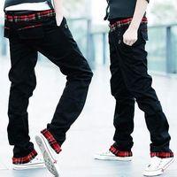 Mens calientes libres del envío con estilo diseño recto Ziipper Clousure botón pantalones vaqueros de impresión comprueba Slim Fit pantalones Casual pantalones Cargo