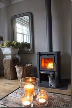 35 Best Ideas For Living Room Country Fireplace Log Burner Home Fireplace, Fireplaces, Country Fireplace, Vibeke Design, Decoration Inspiration, Log Burner, Modern Country, Country Life, Cozy House